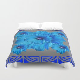 DECO BLUE HOLLYHOCKS PATTERN GREY ABSTRACT ART Duvet Cover