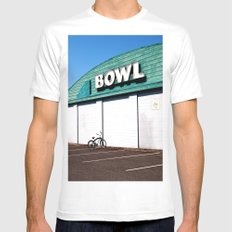 Ready, Set, Bowl! MEDIUM White Mens Fitted Tee