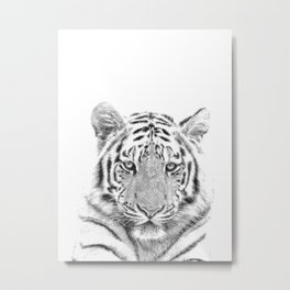 Black and white tiger Metal Print
