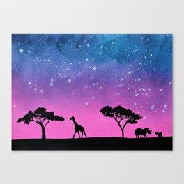 Giraffe Rhino Silhouette Canvas Print