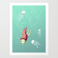 diver Art Prints featuring Diver by Freeminds