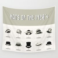 hats Wall Tapestries featuring Hats of the 1920's by Paper Piglets