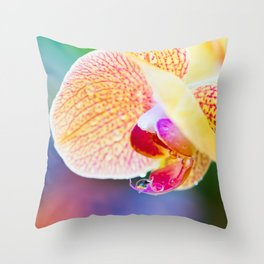 Orchid and Raindrops Throw Pillow