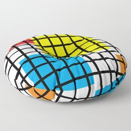 Modern geometric background, red, yellow, green,orange and blue  #society6 #decor #buyart #artprint Floor Pillow