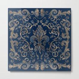 Fleur-de-lis ornament Blue Marble and Gold Metal Print
