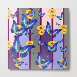 CATCHING BLUE BUTTERFLIES IN YELLOW FLORAL  CAGE Metal Print
