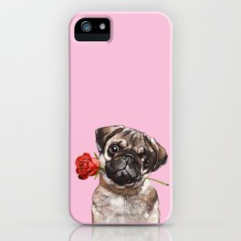 Pug with Red Rose iPhone Case