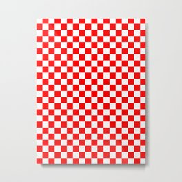 Small Checkered - White and Red Metal Print