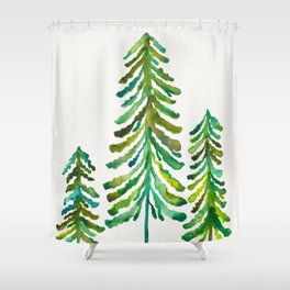 Pine Trees – Green Palette Shower Curtain