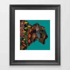 bison teal Framed Art Print