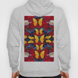 RED-WHITE ROSES & YELLOW BUTTERFLIES GARDEN Hoody