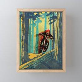 RETRO MOUNTAIN BIKE POSTER LOG JUMPER Framed Mini Art Print