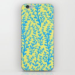 Yellow and Blue Floral Leaves Gouache Pattern iPhone Skin