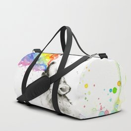 Wolf Howling Rainbow Watercolor Duffle Bag