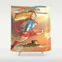 supergirl Shower Curtains featuring Super Family - Superman SuperGirl and SuperBoy by Brian Hollins art