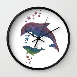 Dancing Rainbow Dolphins Wall Clock