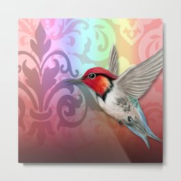 Hummingbird & Damask Watermarks Metal Print
