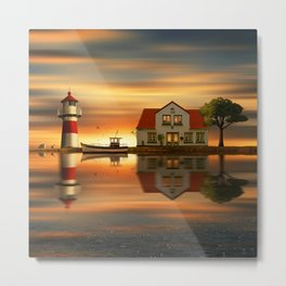 The idyll at the house of the lighthouse keeper Metal Print