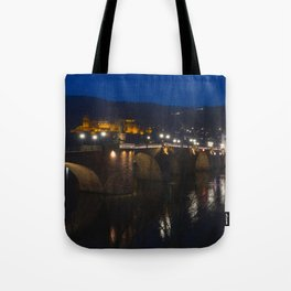 Heidelberg Bridge and Castle by Night Tote Bag