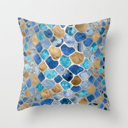 Faux Snake Skin Blue marble and gold on pearl Throw Pillow