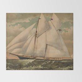 Vintage Schooner Yacht Illustration (1882) Throw Blanket