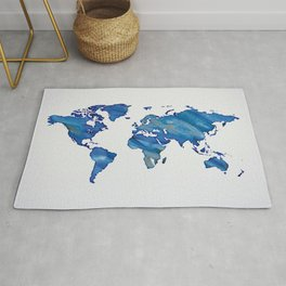 Blue World Map 01 Rug