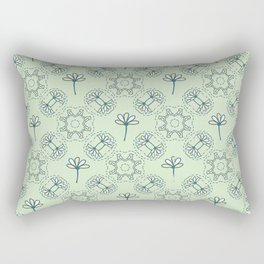 Daisy Flowers and Tiny Birds Seamless Pattern Rectangular Pillow