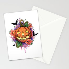 Halloween Pumpkin Watercolor Design Stationery Cards