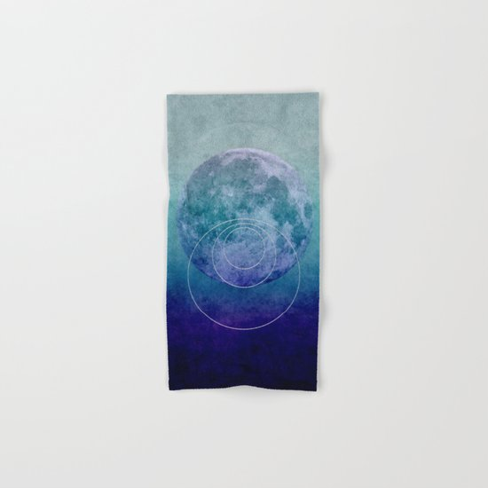 Blue Moon geometric circle mixed media Hand & Bath Towel