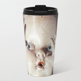 """I see you"" Creepy Scared Doll with Hands Up Travel Mug"
