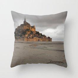 Golden Hour at Le Mont Saint-Michel Throw Pillow