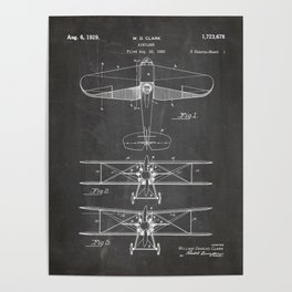 Biplane Patent - Aviation Art - Black Chalkboard Poster
