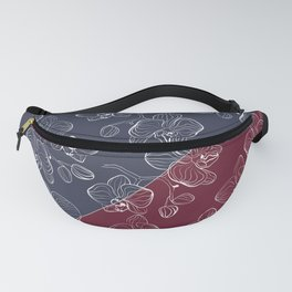 Retro . Orchid flowers on a red and blue background . The combined pattern . Fanny Pack