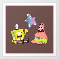 spongebob Art Prints featuring Spongebob & Patrick by solostudio