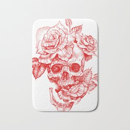 Roses and Human Skull - Red Bath Mat