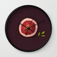 fruits Wall Clocks featuring Fruits by Oilikki