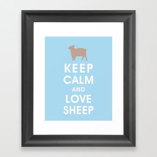 Keep Calm and Love Sheep Framed Art Print
