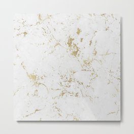 White and gold faux marble Metal Print