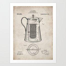 Coffee Percolator Patent - Coffee Shop Art - Antique Art Print
