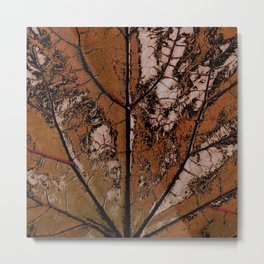 OLD BROWN LEAF WITH VEINS SHABBY CHIC DESIGN ART Metal Print
