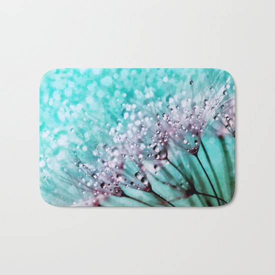 Dew on dandelions II Bath Mat