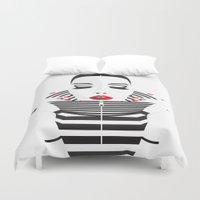 striped Duvet Covers featuring striped by Yordanka Poleganova