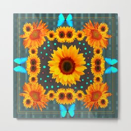 Blue Butterflies Golden Sunflowers Teal Art Metal Print