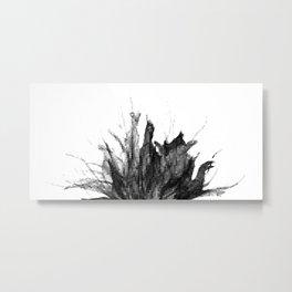 Black & white mosaic wildflower Metal Print
