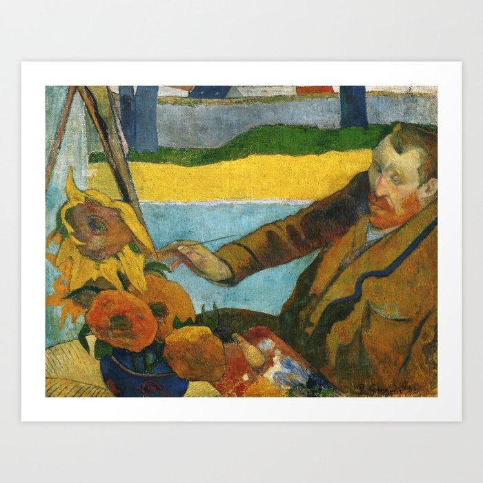Vincent Van Gogh Painting Sunflowers Gauguin Art Print By