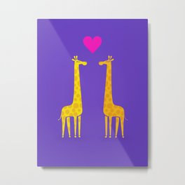 Cute cartoon giraffe couple in Love (Purple Edition) Metal Print