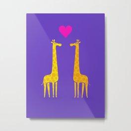 Cute cartoon giraffe couple in Love (Purple Edition) Metal Print