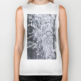 Snowy Tree Branches Winter Scene #decor #society6 #buyart Biker Tank
