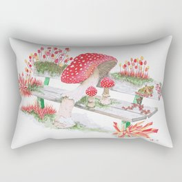 Mushrooms on a Public Bench | Surrealistic Watercolor Painting by Stephanie Kilgast Rectangular Pillow