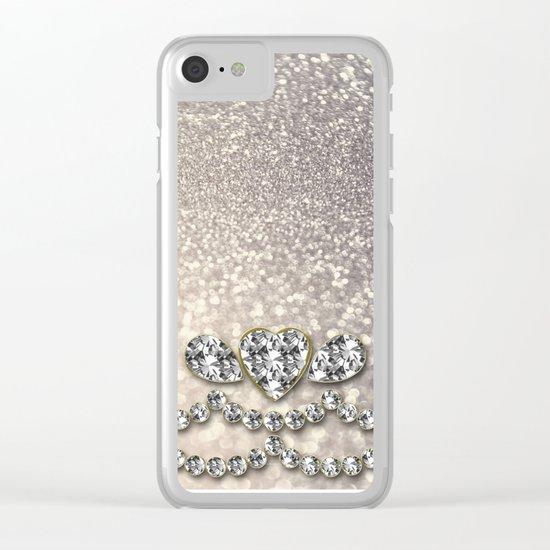Diamonds and sparkles I- Silver elegant glitter design Clear iPhone Case